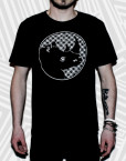 logo pattern black t
